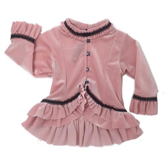 9aa97b7b Mulberribush Girls Pink Velour Bolero Jacket 2T-5 Boutique